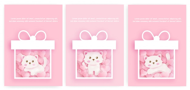 ベビーシャワーカードと紙でかわいい猫の誕生日カードのセットは、アサイルをカットしました。