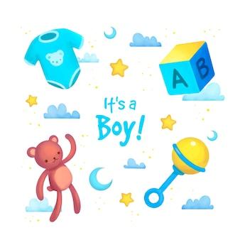 男の子のためのベビーシャワーの要素のセット