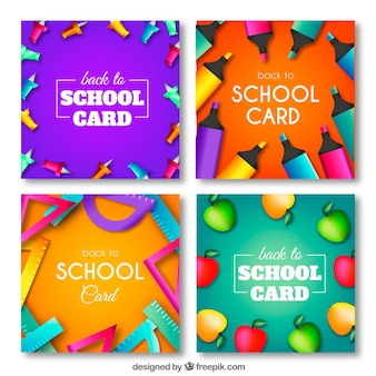 Set of back to school cards with tools