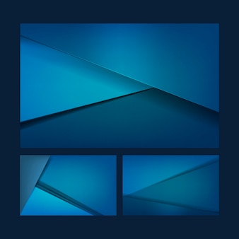 Set of background designs in blue