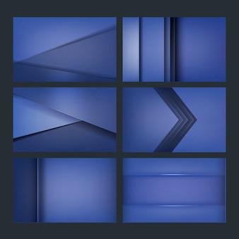 青色の背景デザインのセット