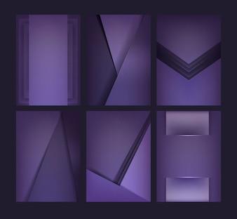Set of background designs in deep purple