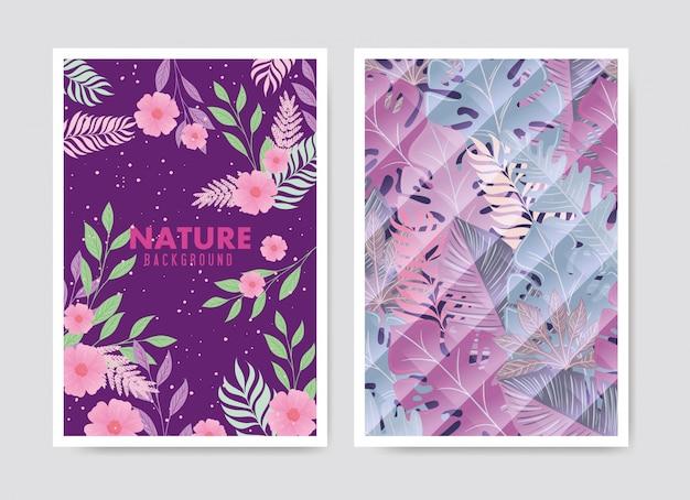 熱帯の背景とパステルカラーの葉と花のセット