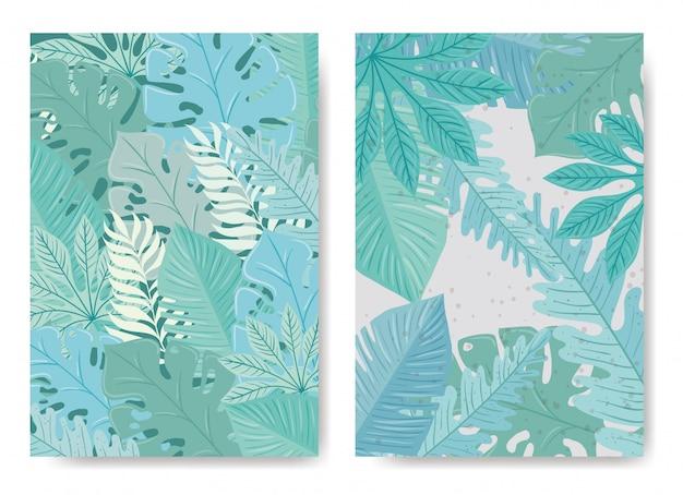 パステルカラーと背景の熱帯の葉のセット