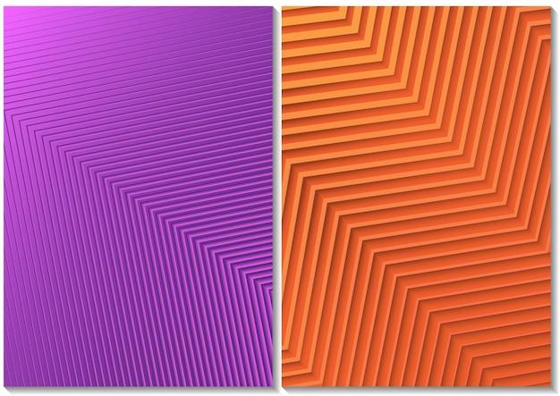 Набор фонов с полосатым узором и цветным градиентом