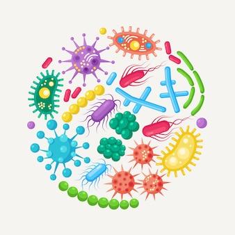 박테리아, 미생물, 바이러스, 세균의 집합입니다. 배경에 고립 된 질병을 일으키는 개체입니다. 세균성 미생물, 프로 바이오 틱 세포. 만화 디자인.
