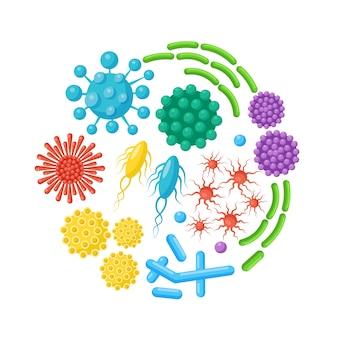 박테리아, 미생물, 바이러스, 세균의 집합입니다. 배경에 질병을 일으키는 물체. 세균성 미생물, 프로 바이오 틱 세포. .