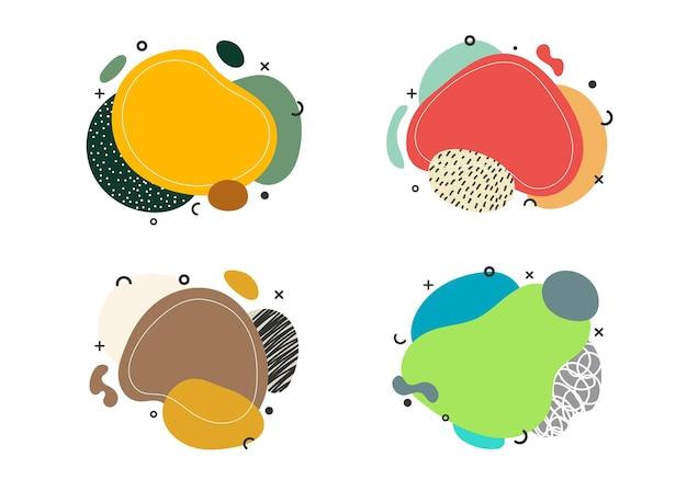 バッジ手描きの有機的な形のセット