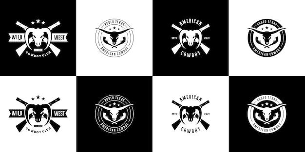 배지 와일드 웨스트 텍사스 로데오 카우보이 로고 디자인 빈티지 세트