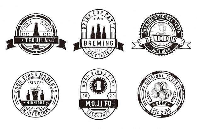 Набор значков пивоварни, эмблемы магазина пивоварни и логотипа