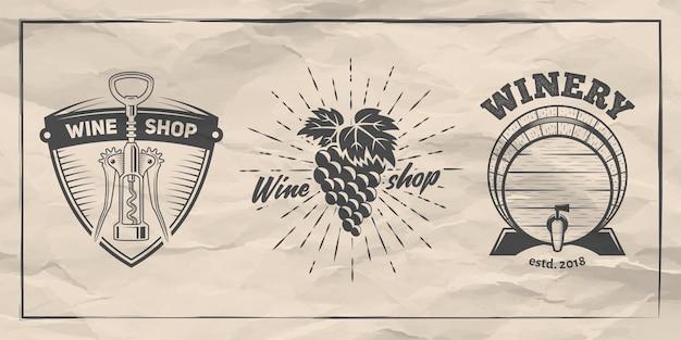 ワインショップやワイナリーのバッジのセット