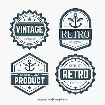 Набор значков в винтажном стиле Бесплатные векторы