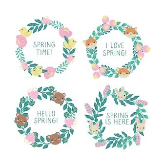 春のテーマのバッジのセット