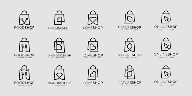 가방 로고 디자인 템플릿 집합입니다. 그림 음식, 다이아몬드, 사랑, 잎, 커서 요소 가방 쇼핑 기호와 결합.