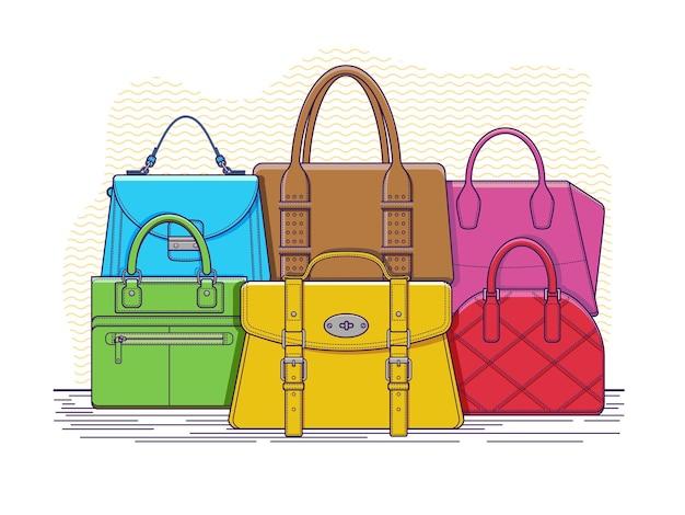 가방 세트. 패션 핸드백 액세서리, 손잡이가 달린 가죽 가방.