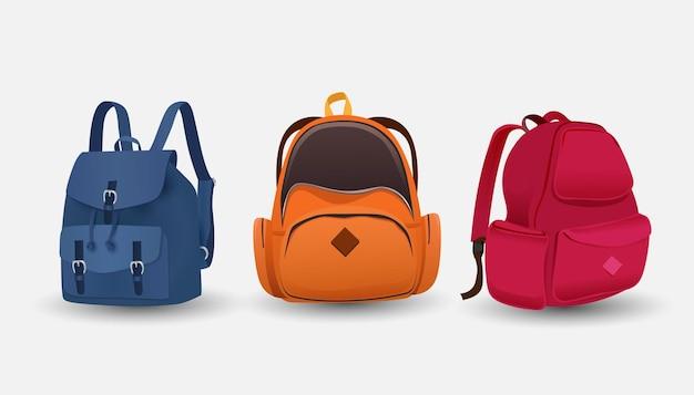 Набор сумок различных моделей и расцветок готов идти в школу