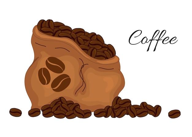 원두 커피와 가방 세트입니다. 만화 스타일.