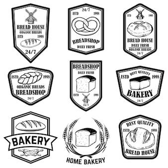 빵집, 빵 가게 엠블럼 세트. 로고, 레이블, 기호, 배너, 포스터 디자인 요소입니다.
