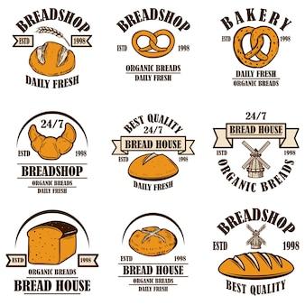 パン屋、パン屋のエンブレムのセット。ポスター、ロゴ、ラベル、サインのデザイン要素。