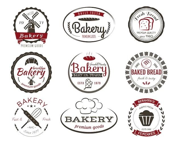 ベーカリーラベル、ベーカリーバッジとデザイン要素、お菓子のシンボルのセット。焼きたてのパン、ケーキのロゴのテンプレート。 2色のビンテージスタイル。