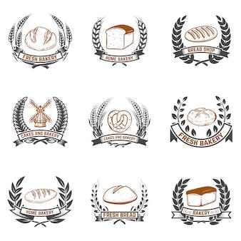 ベーカリーラベルのセット。パン屋、焼きたてのパン。ラベル、エンブレム、記号の要素。図