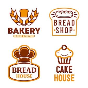 パン屋のロゴのデザインのセット