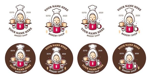 Набор логотипа пекарни с мультяшным талисманом в хиджабе