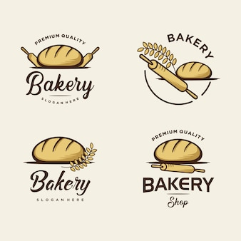Набор хлебобулочных логотипов дизайн для магазина пекарни. премиум логотип шаблон иллюстрации