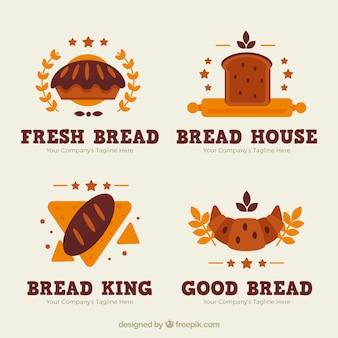 플랫 스타일의 빵집 로고 세트