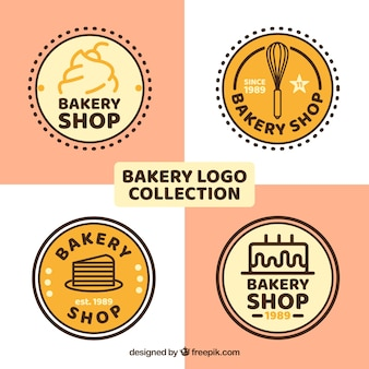 Набор булочных логотипов в плоском стиле