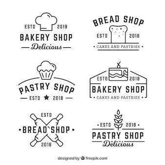 Set of bakery logos in flat style