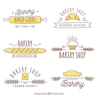 手描きのスタイルのベーカリーロゴのセット