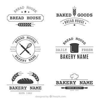 Set of bakery logos in vintage style