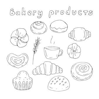 Набор хлебобулочных изделий и кофе, векторные иллюстрации, ручной рисунок