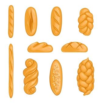 베이커리 제품 세트. 빵, 덩어리, 할라, 만화 스타일의 바게트.