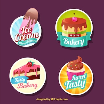 Set of bakery stickers with sweets