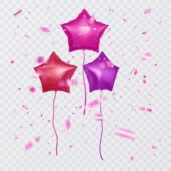 星と紙吹雪の形をした風船のセット