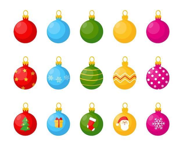 Набор шаров для елки, изолированные на белом фоне.