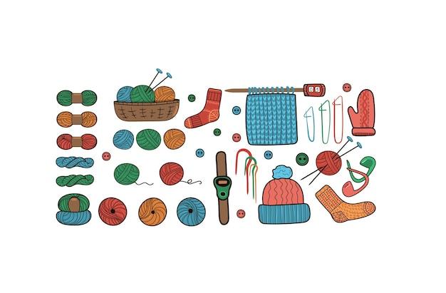 Набор клубков шерсти и спиц