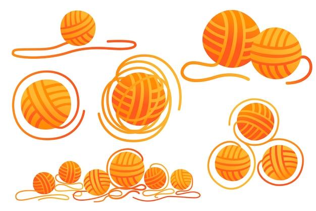 白い背景で隔離の針仕事オレンジ色フラットベクトルイラストのウール工芸品のボールのセットです。