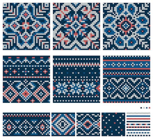 Набор узоров вязания балтийская звезда, векторные бесшовные узоры, синий, белый и коралловый