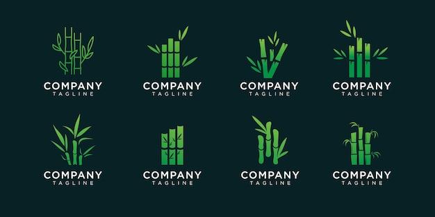 Набор бамбукового дизайна логотипа.
