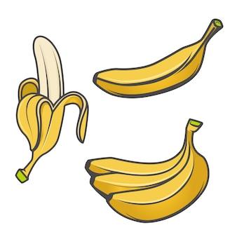 白い背景の上のバナナアイコンのセットです。ロゴ、ラベル、エンブレム、記号、ブランドマークの要素。