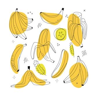 Набор банановых линейных иконок на белом