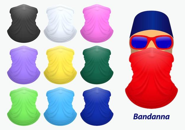 Набор реалистичного банданы или банданы для байкерской и ковбойской одежды или баффа на реалистичном манекене