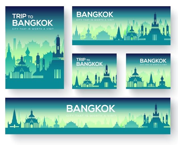 Набор туристического тура бангкок пейзаж страны орнамент