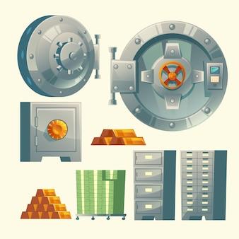 Set of bank vault, metallic iron safe door. Gold, cash