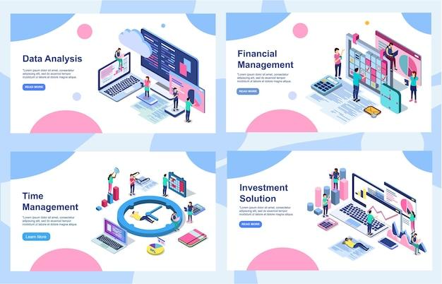 데이터 분석, 디지털 마케팅 전략, 수익 증대 및 재무 감사를위한 배너 디자인 템플릿 세트.