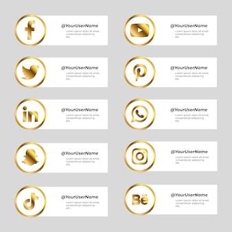 金色のアイコンとソーシャルメディアのバナーのセット