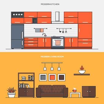 Набор баннеров концепции дизайна интерьера дома
